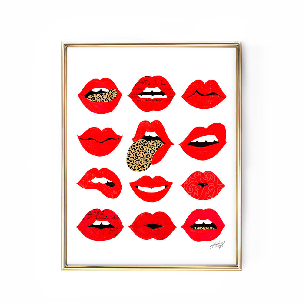 leopard lips of love illustration art print poster