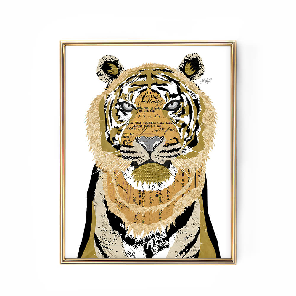 tiger lion collage abstract illustration art print poster