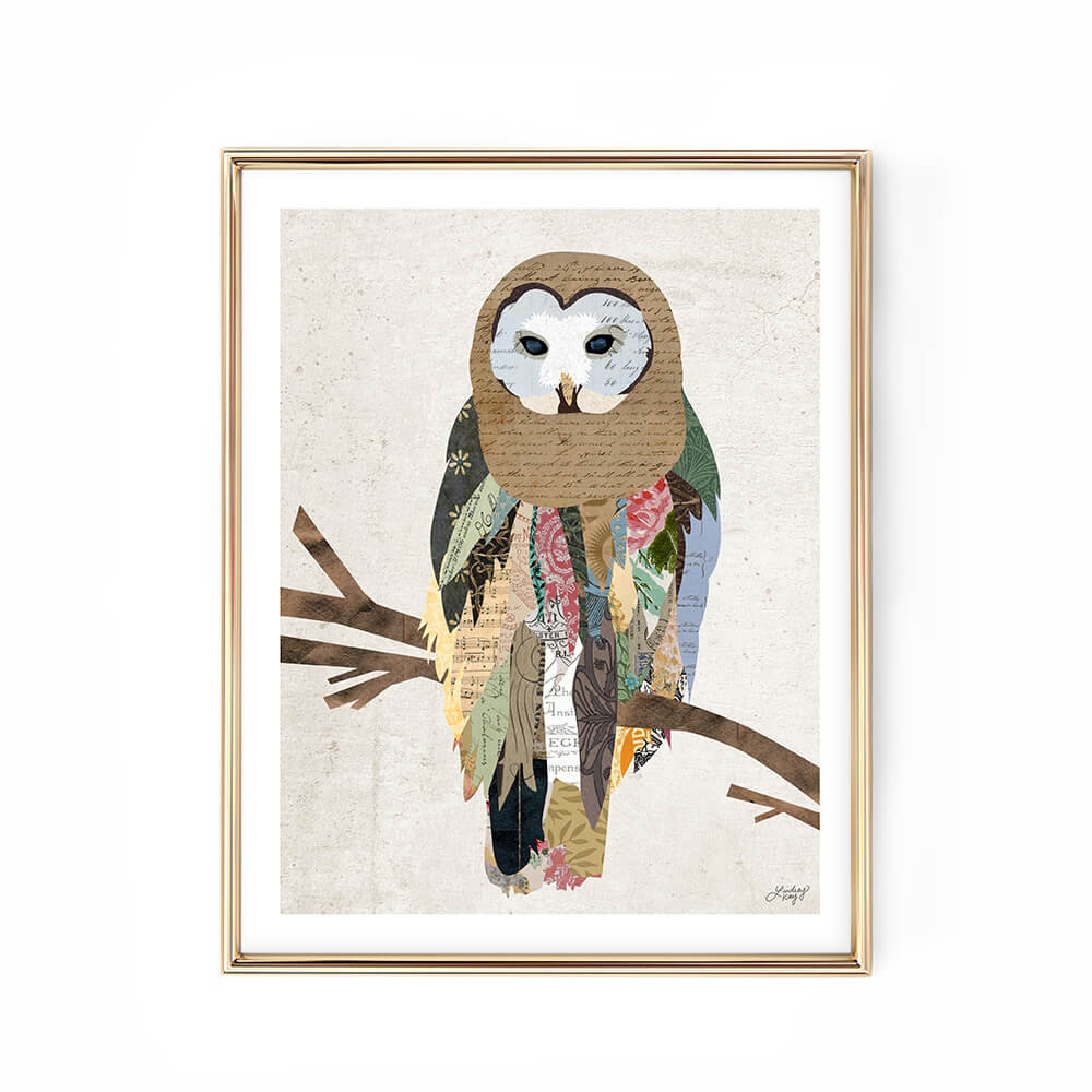 owl collage illustration art print woodland decor wall art colorful