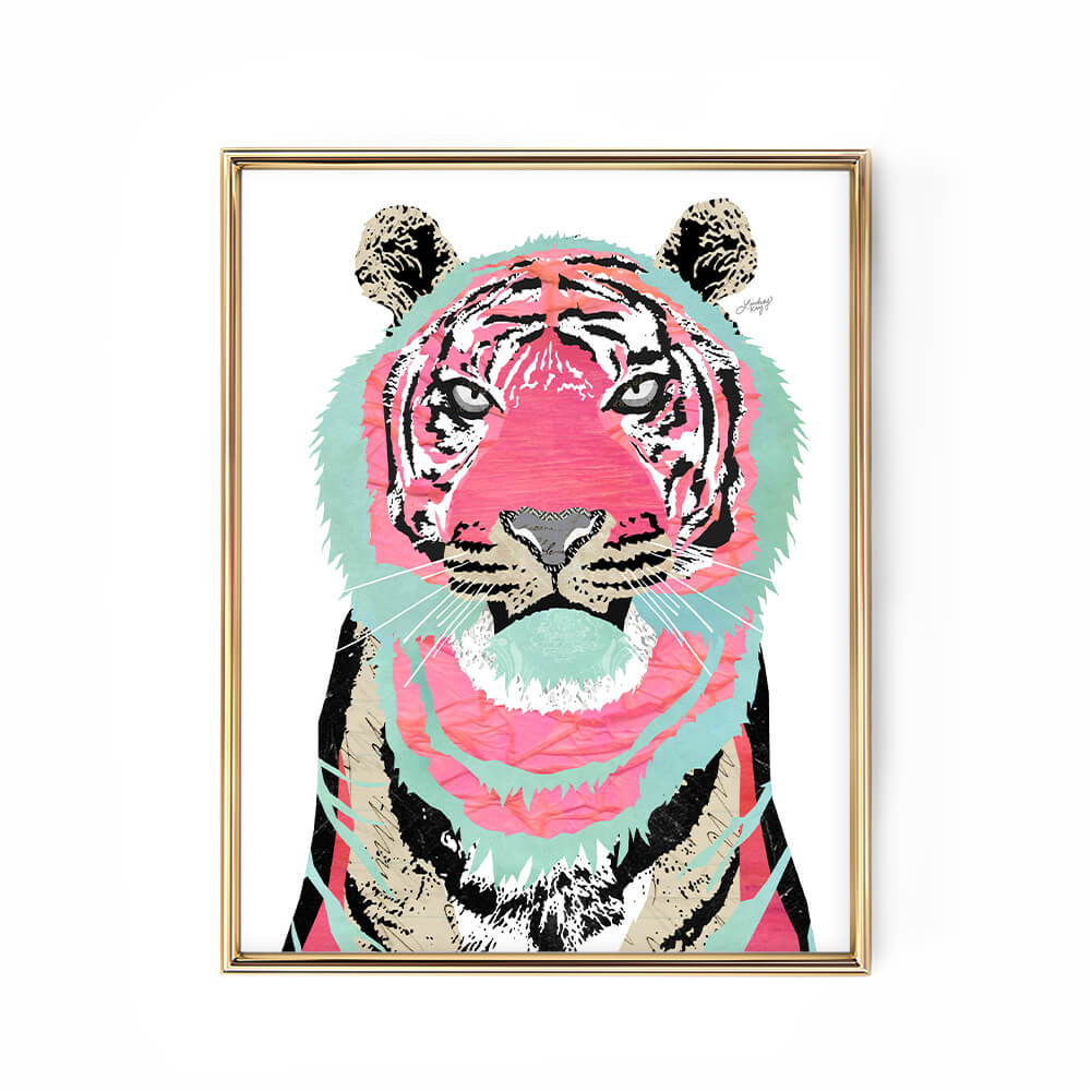 pink tiger collage art print, framable wall art, created by lindsey kay collective