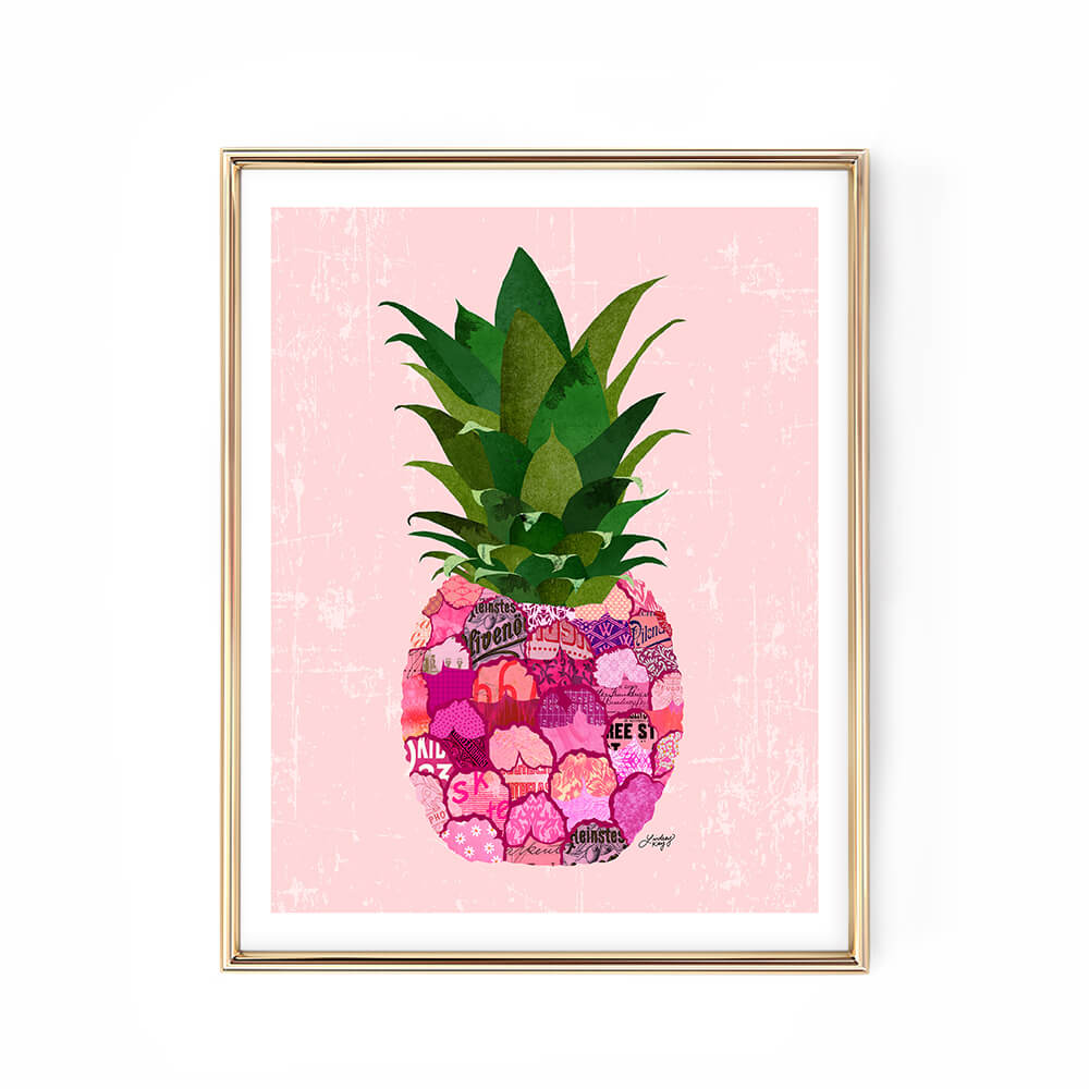 pink pineapple collage illustration art print poster