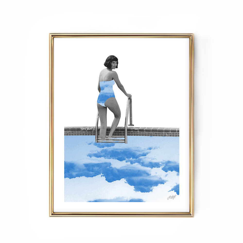 abstract woman pool water collage art print poster