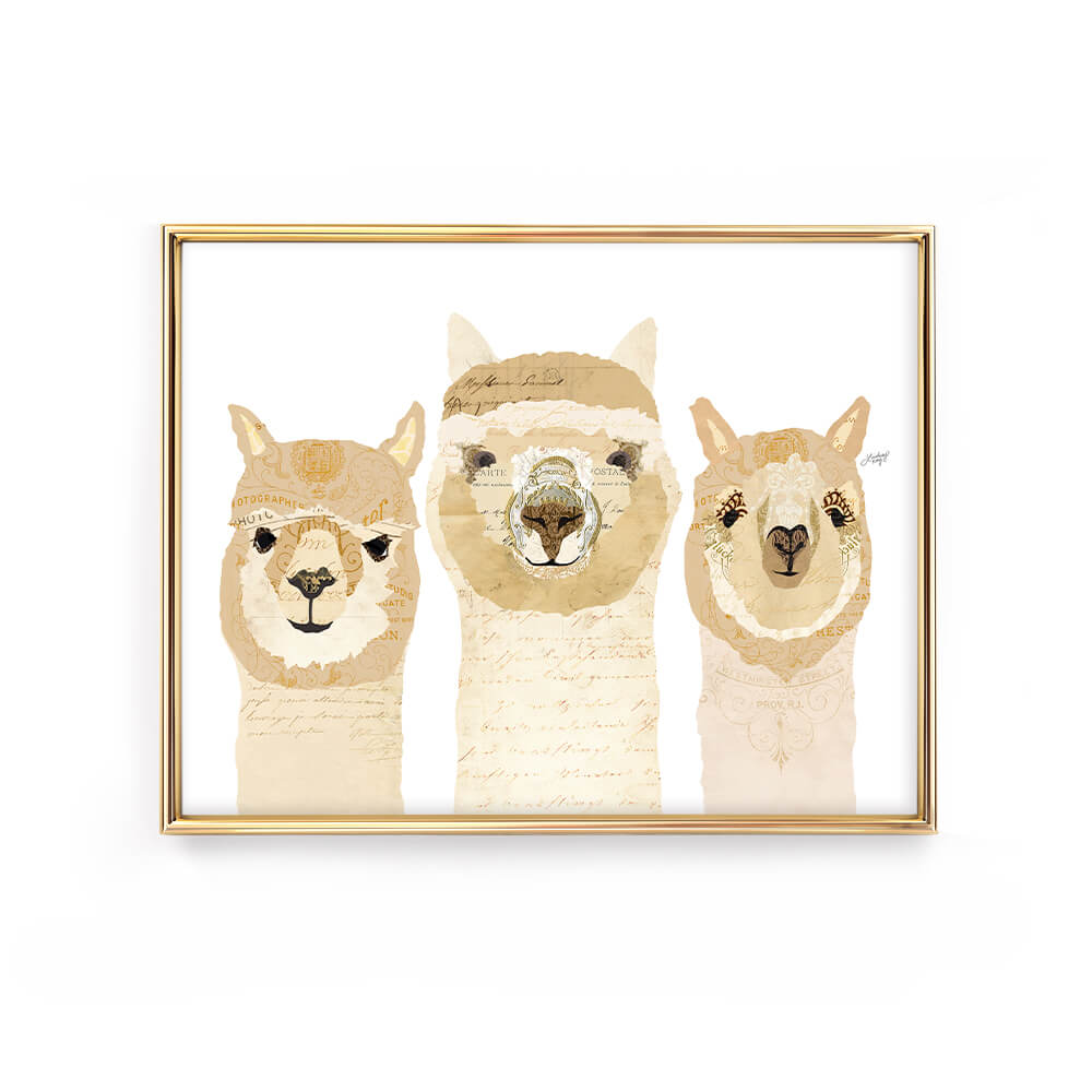 alpaca illustration collage art print poster