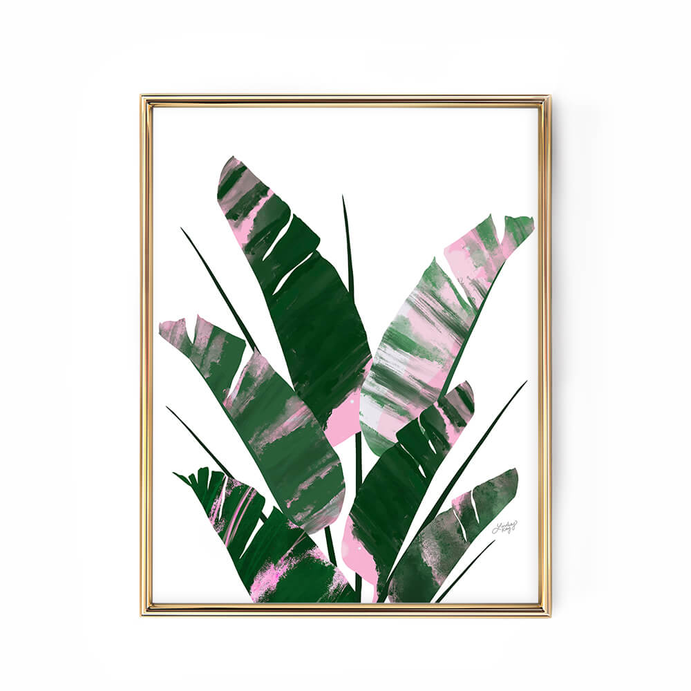 Banana Leaf Plant Collage Illustration (Pink Palette) - Art Print