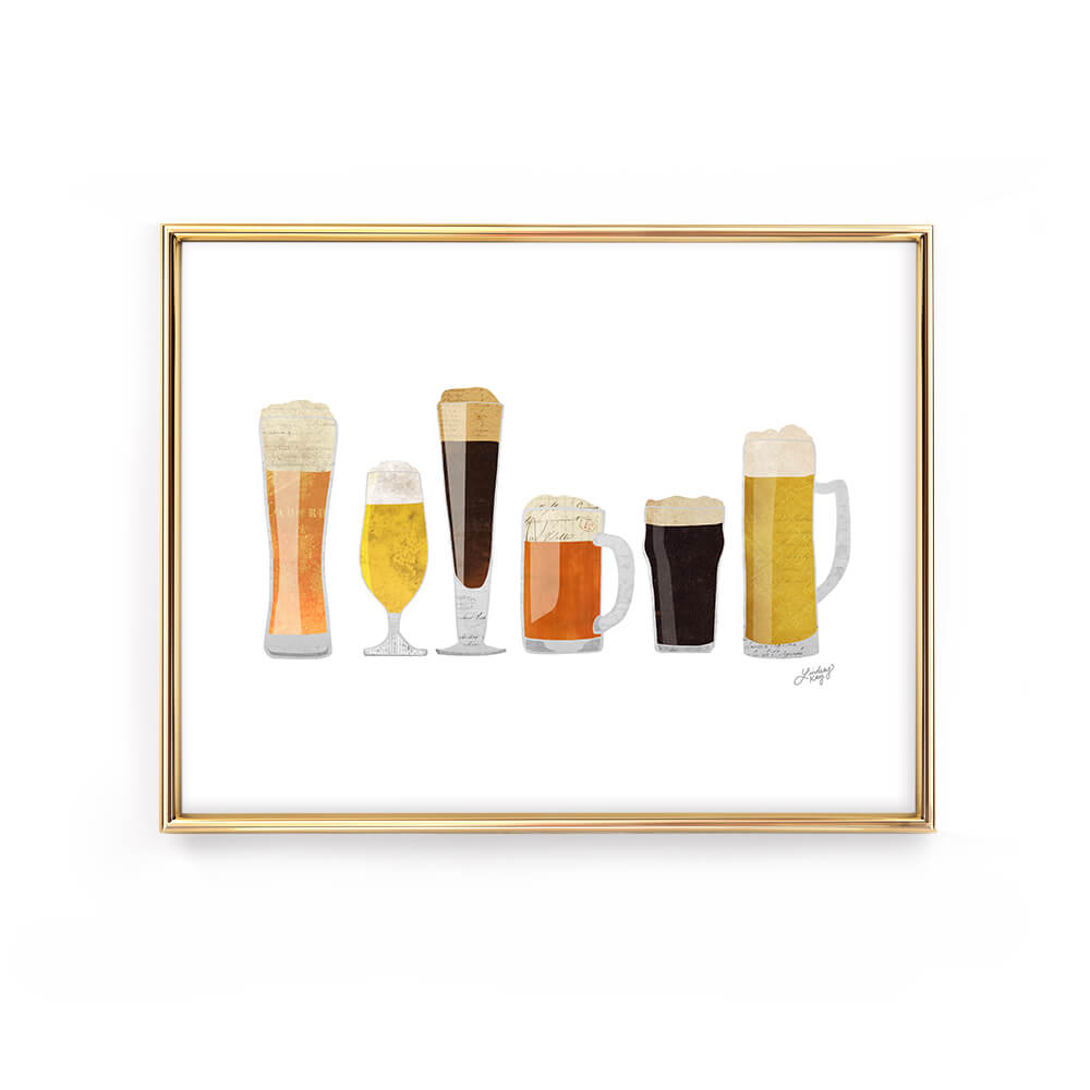 beer glasses collage illustration art print gift man cave lindsey kay collective