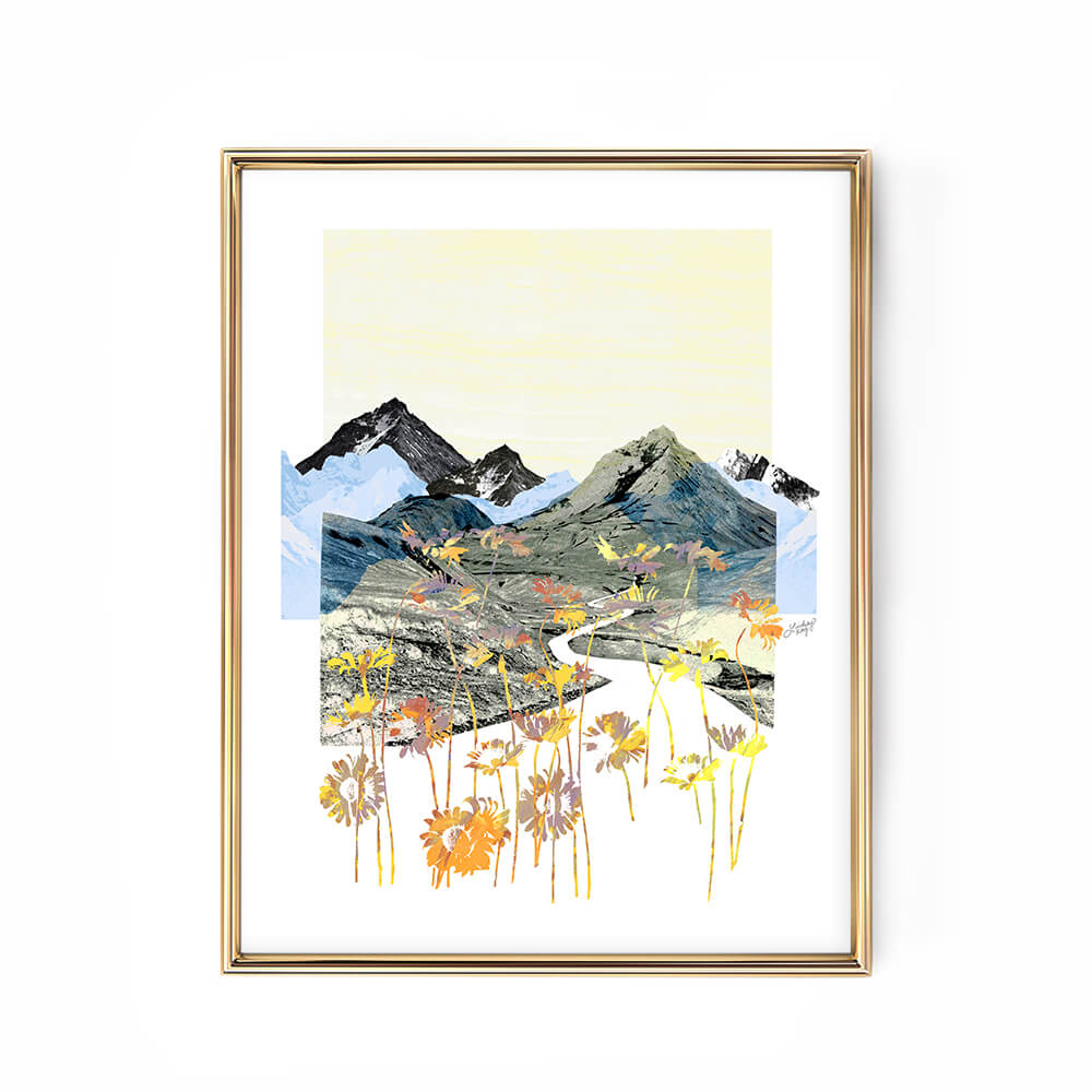 daisy mountain abstract landscape collage illustration art print poster lindsey kay collective