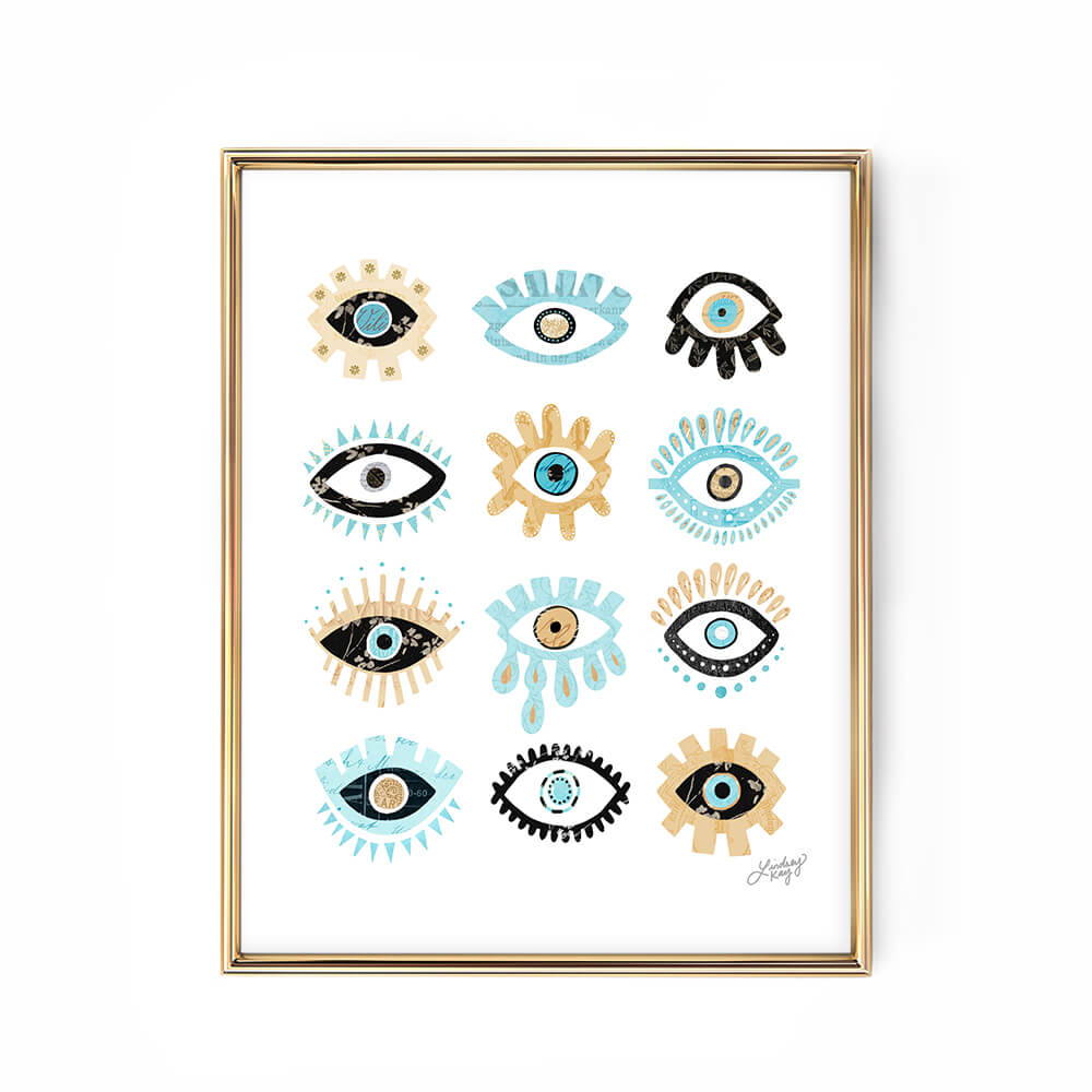 evil eyees illustration art print wall art lindsey kay collective