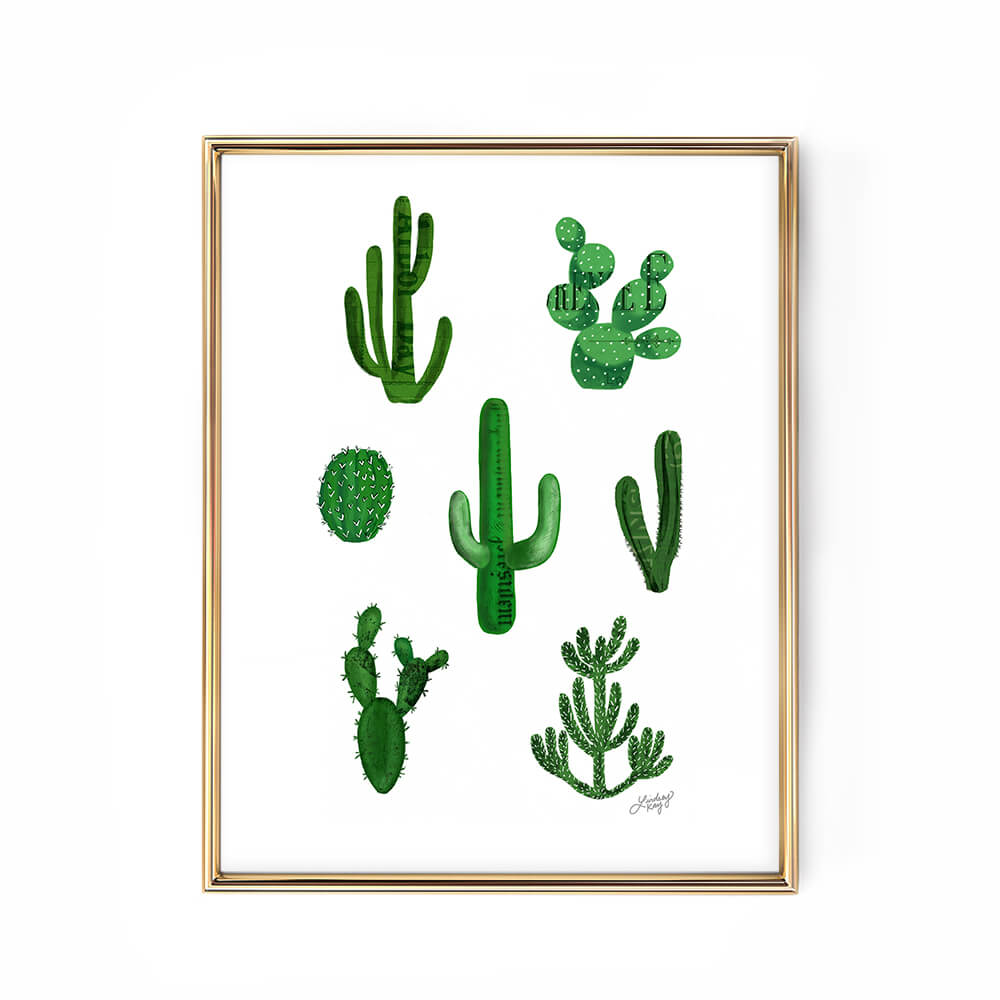 cactus collage illustration art print lindsey kay collective
