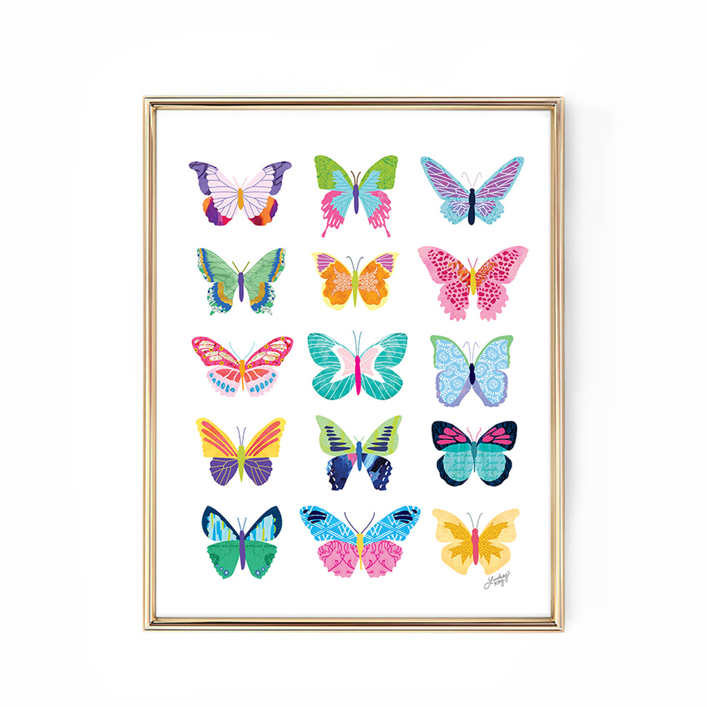 colorful butterflies collage illustration art print design wall art lindsey kay collective