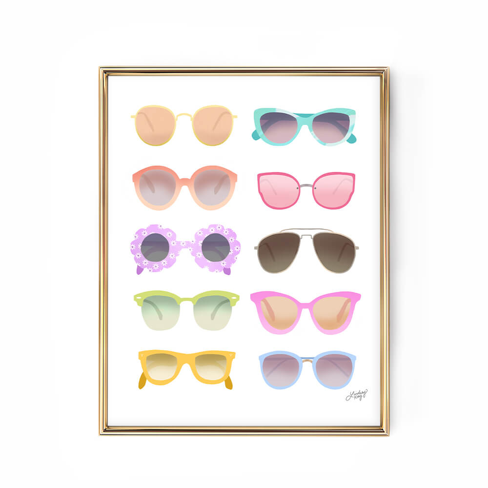 sunglasses art print illustration lindsey kay collective