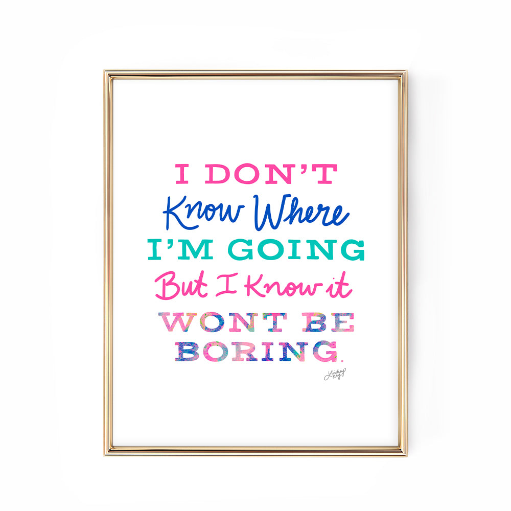 david bowie pink blue colorful hand-lettered inspiring quote art print poster