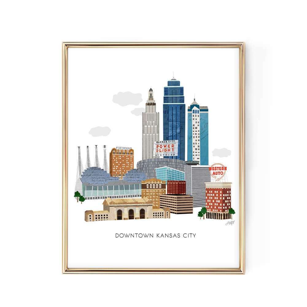 downtown kansas city illustration art print poster lindsey kay collective