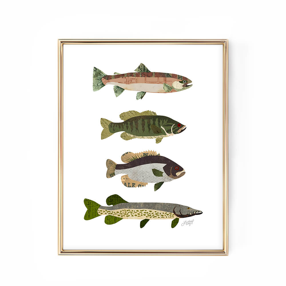 fish lake cabin illustration collage art print decor lindsey kay collective