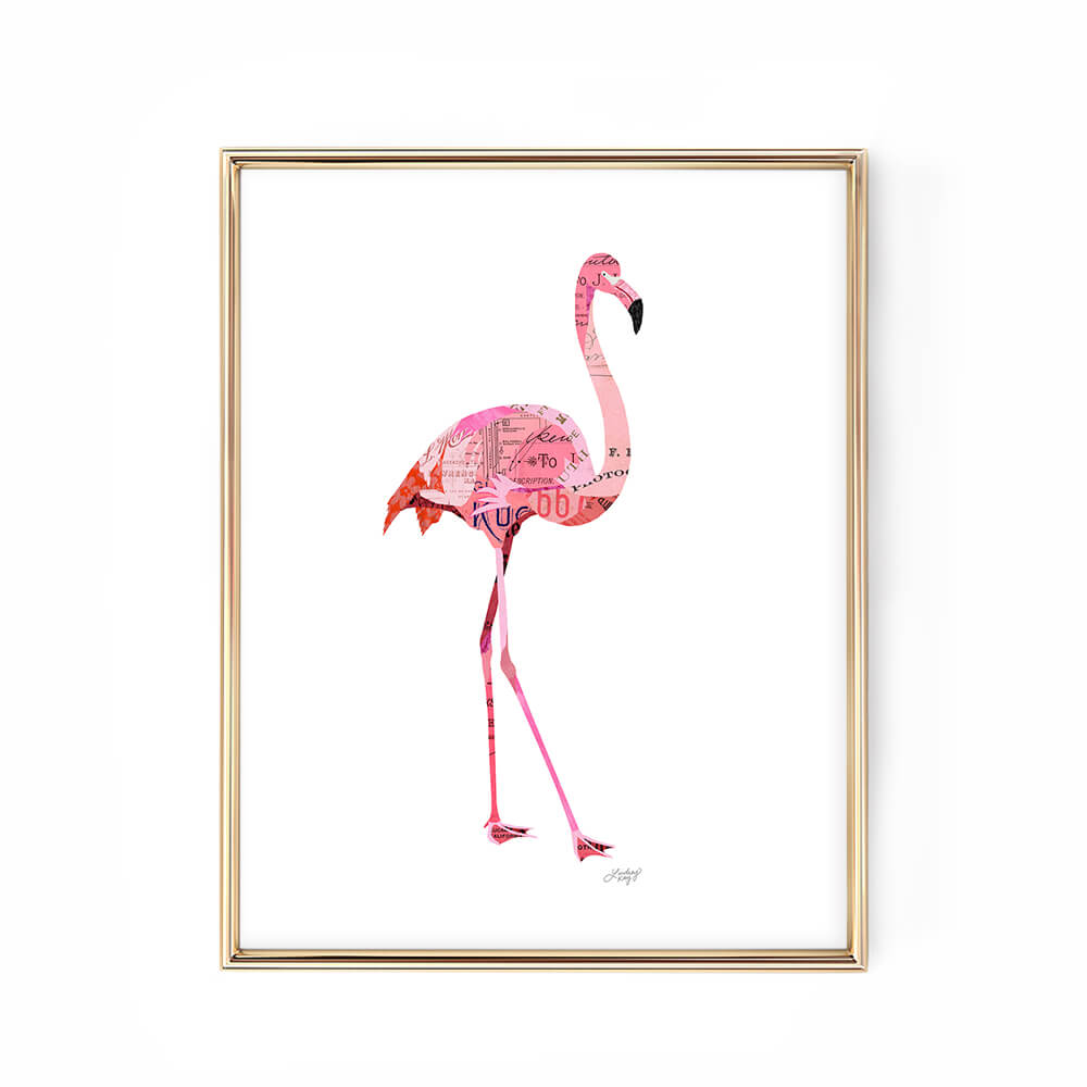 flamingo illustration collage art print design poster lindsey kay collective
