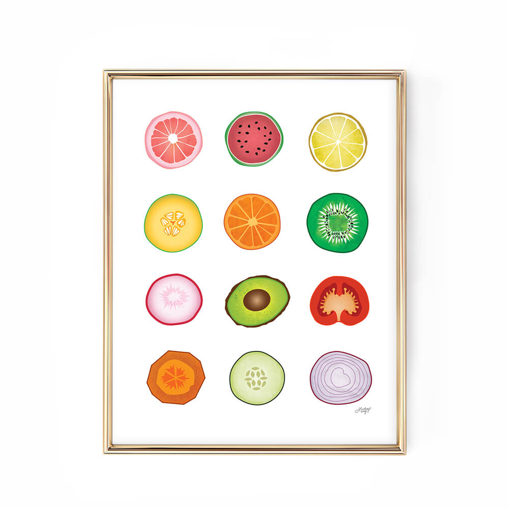 fruits vegetables illustration art print poster design