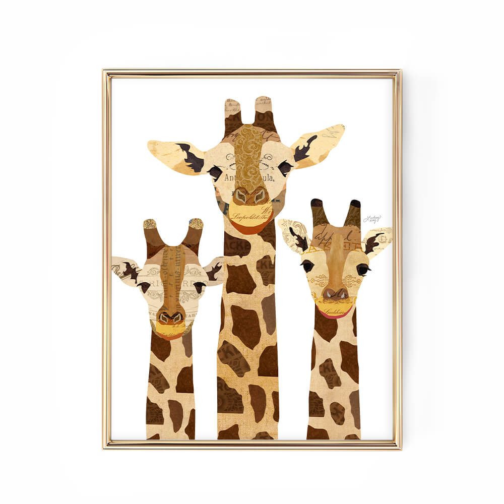 giraffe collage illustration art print design