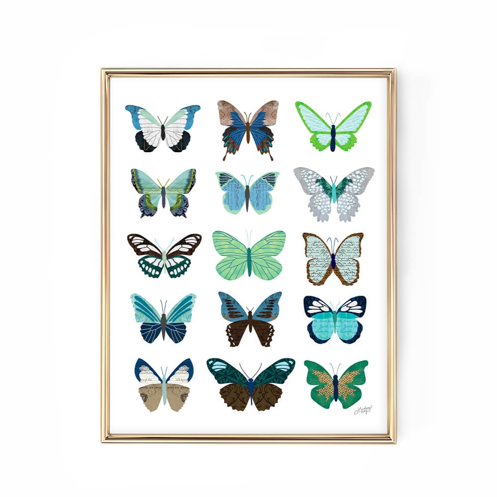 Green blue butterflies collage design illustration art print lindsey kay collective