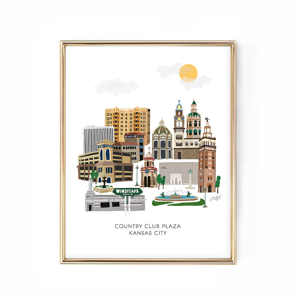 kansas city plaza cityscape illustration art print poster