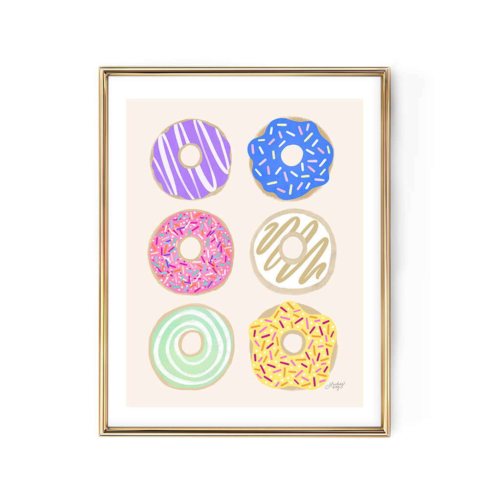 pastel donuts illustration kitchen art print lindsey kay collective
