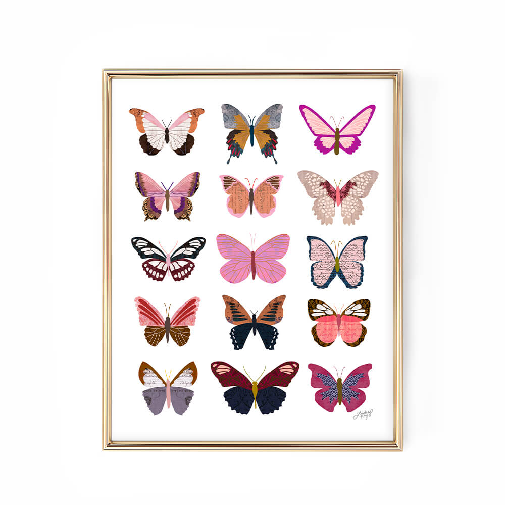 pink butterflies collage illustration wall art print lindsey kay collective