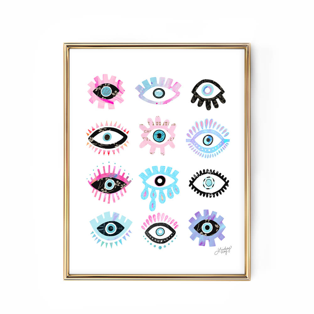 evil eyes illustration art print lindsey kay collective