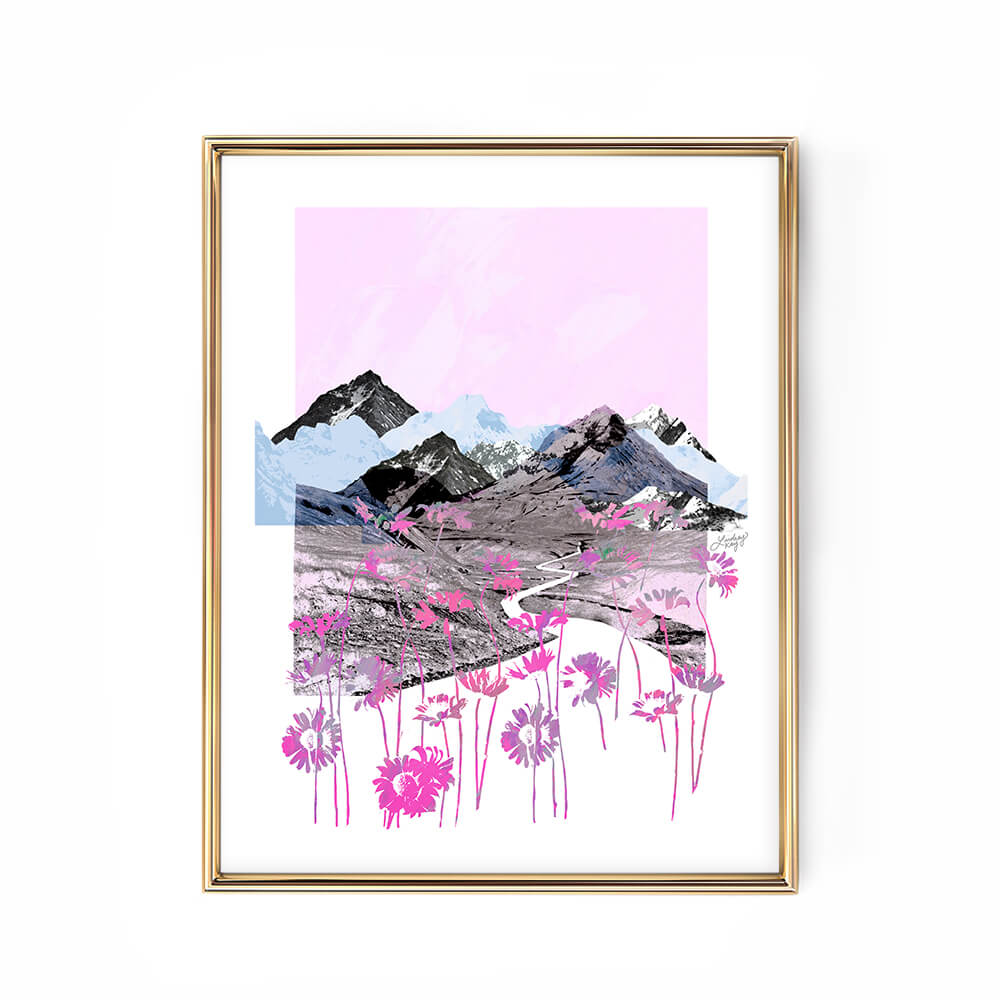 pink purple blue daisy mountains abstract collage illustration art print poster