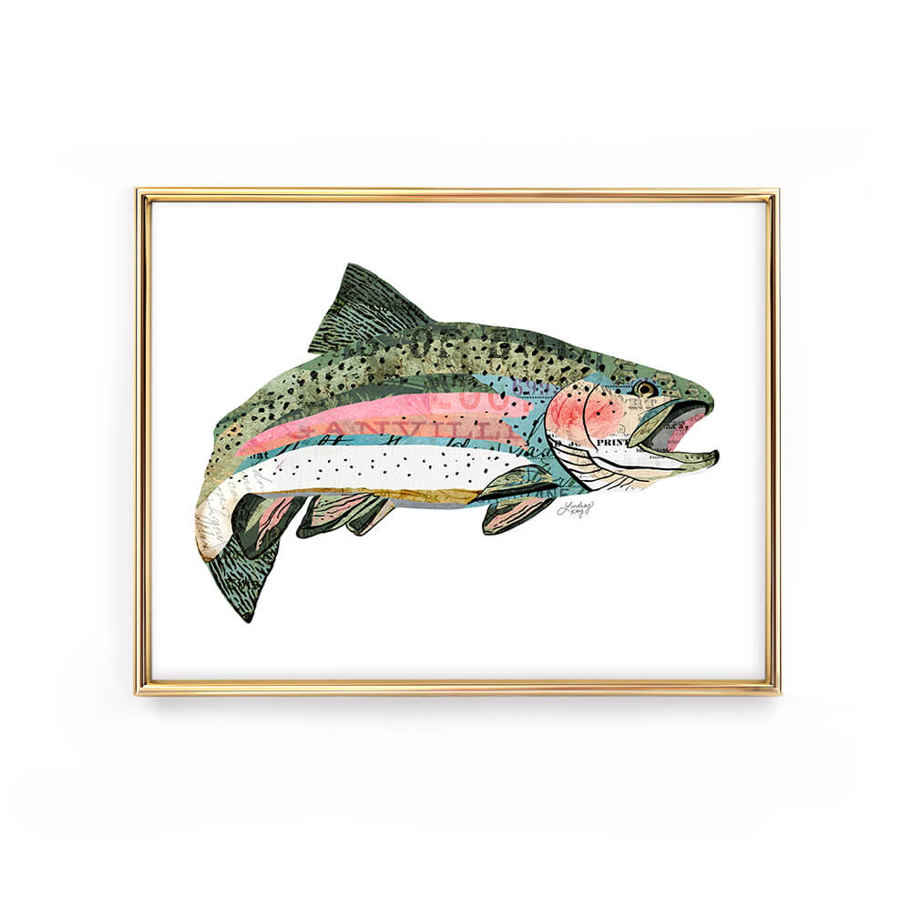rainbow trout collage illustration fish art print poster