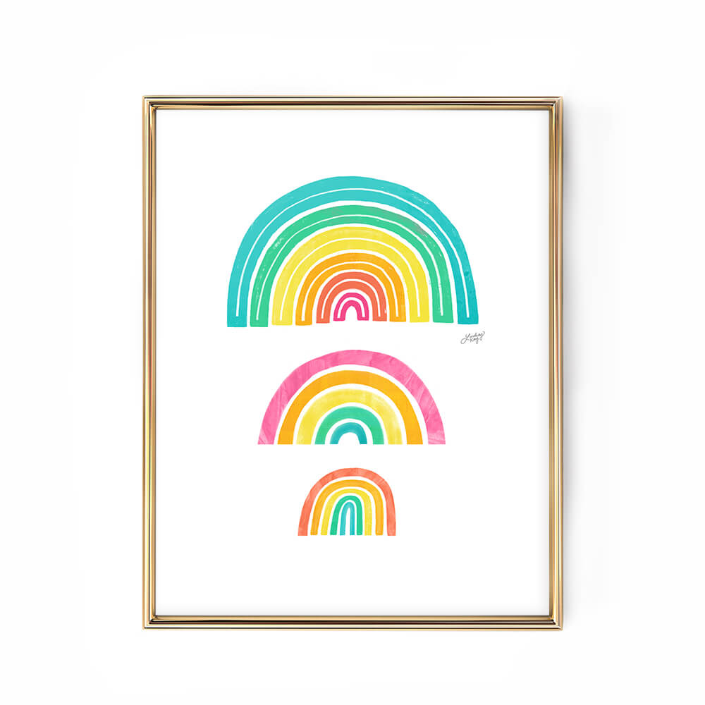 rainbows art print poster colorful