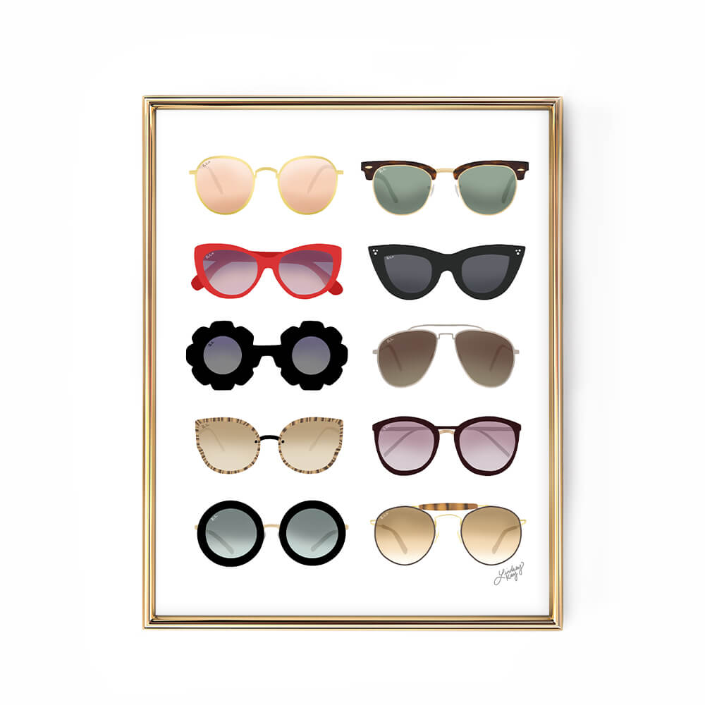 ray ban sunglasses illustration art print poster