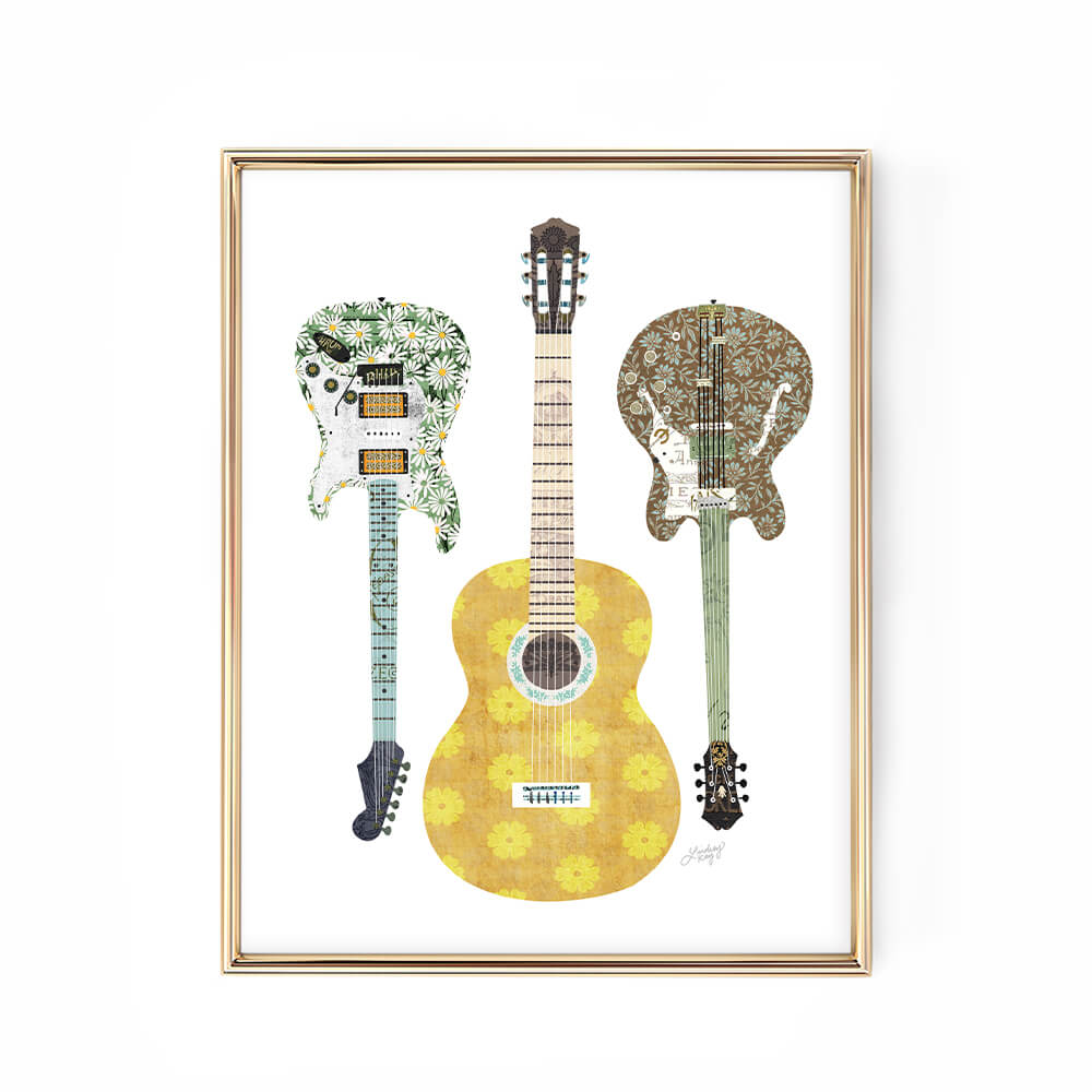 Colorful Guitar Collage - Art Print