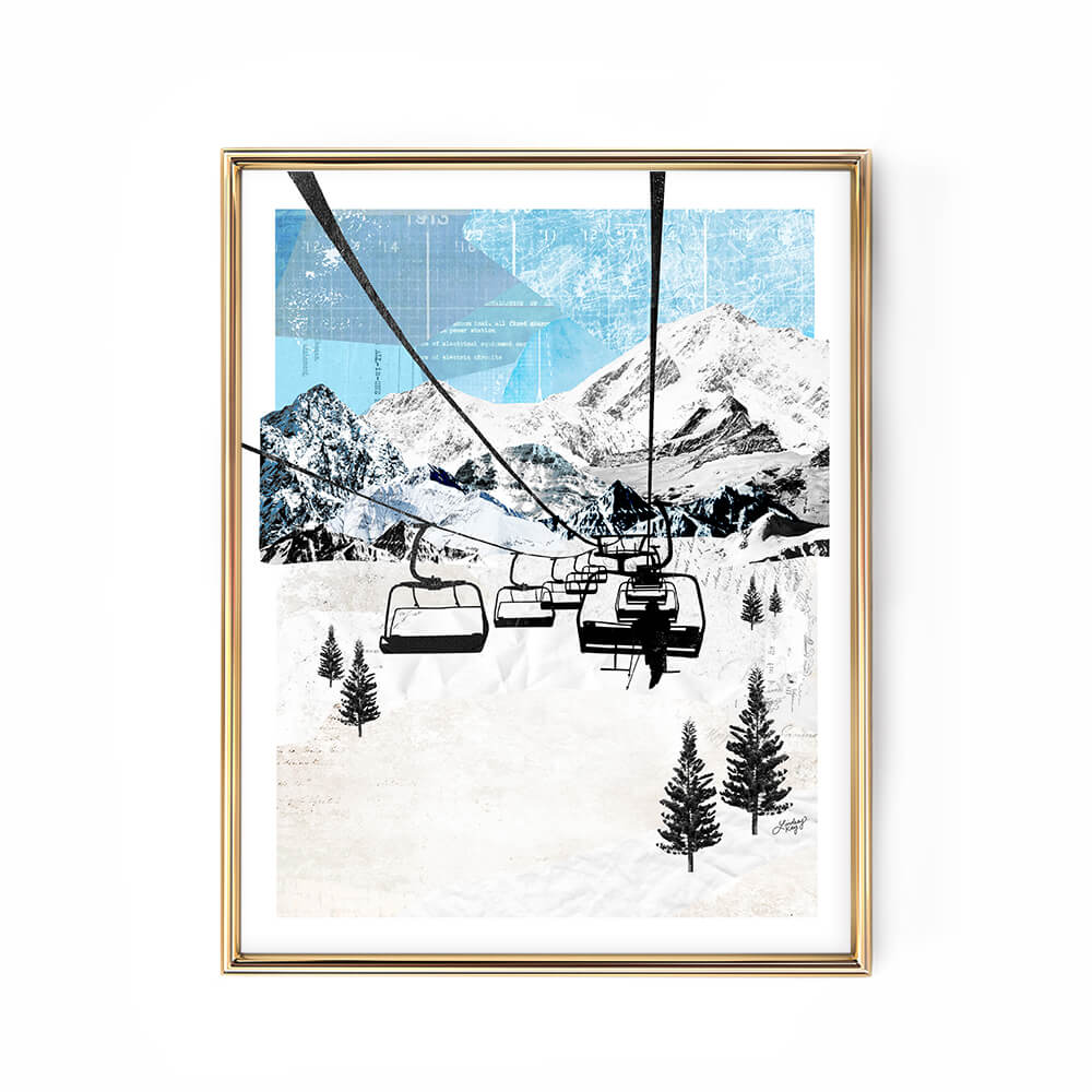 ski chair lift mountain landscape collage illustration art print poster