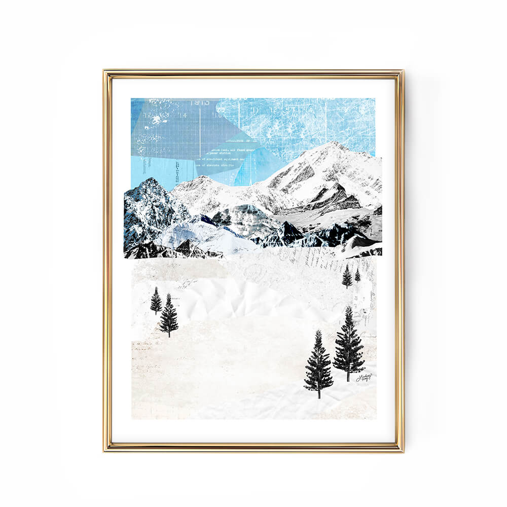 mountain landscape collage illustration art print poster