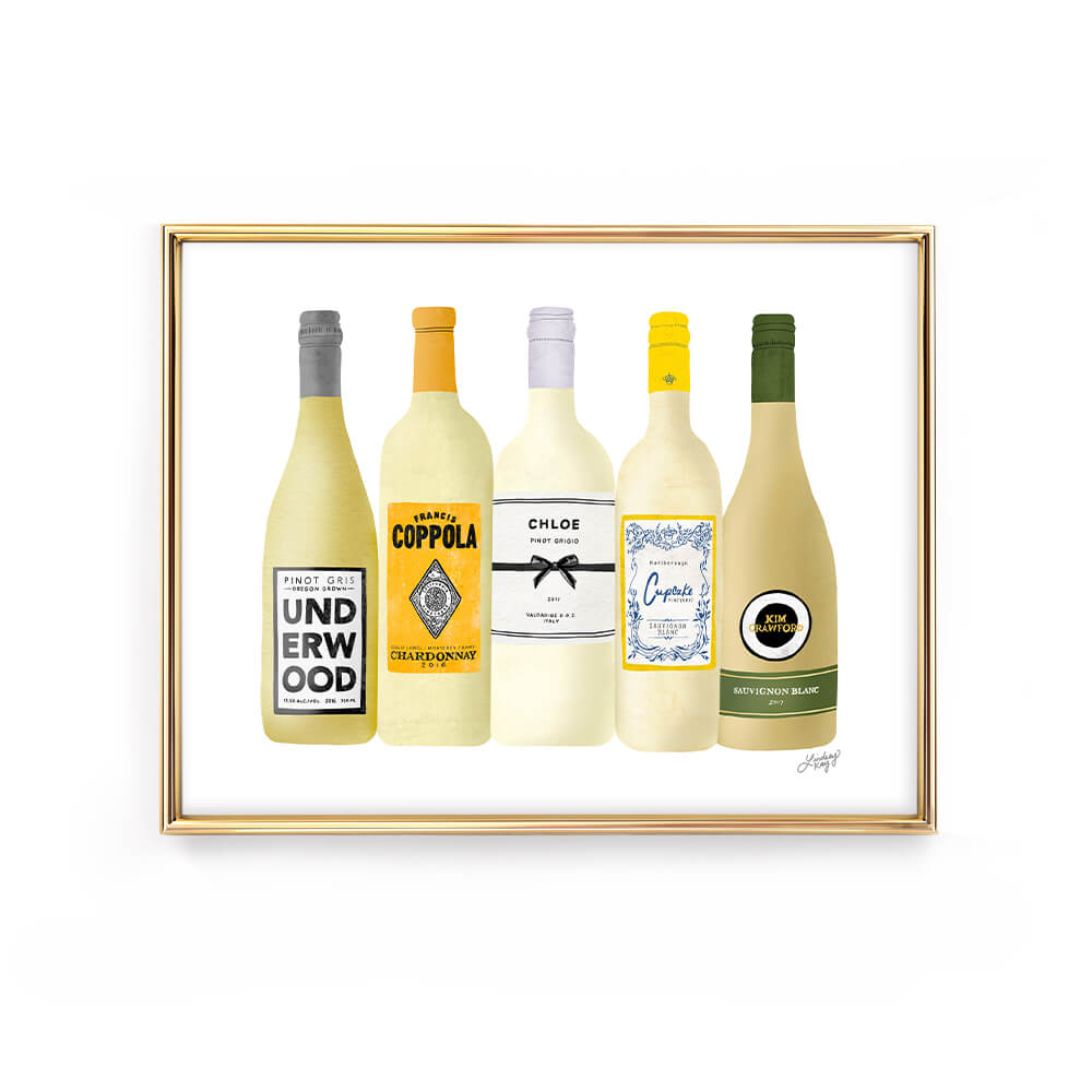 White Wine Bottles Illustration - Art Print