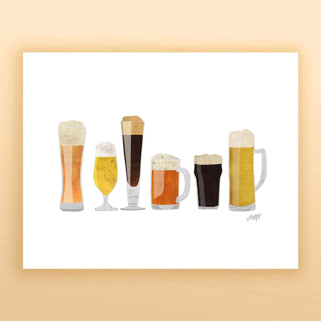 Beer Glasses Illustration - Art Print