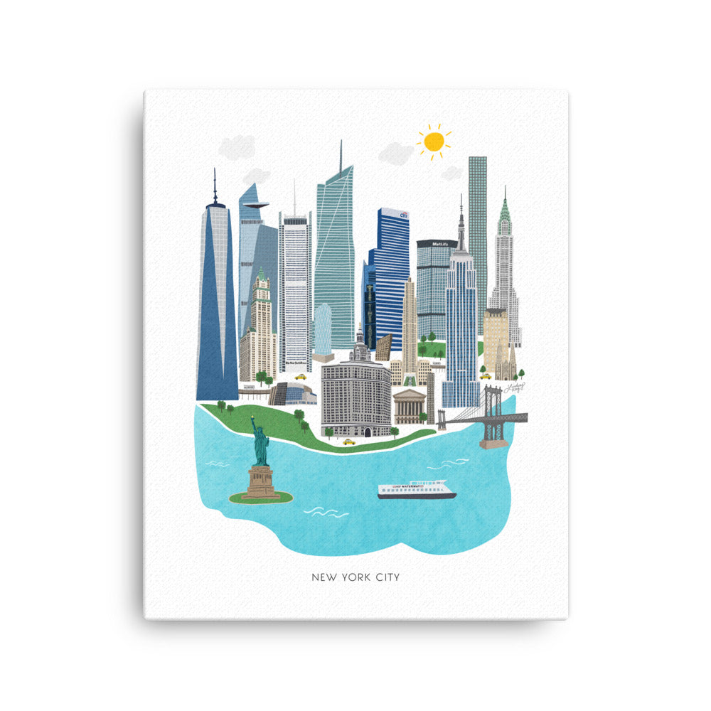 new york city illustration painting on canvas wall art lindsey kay collective