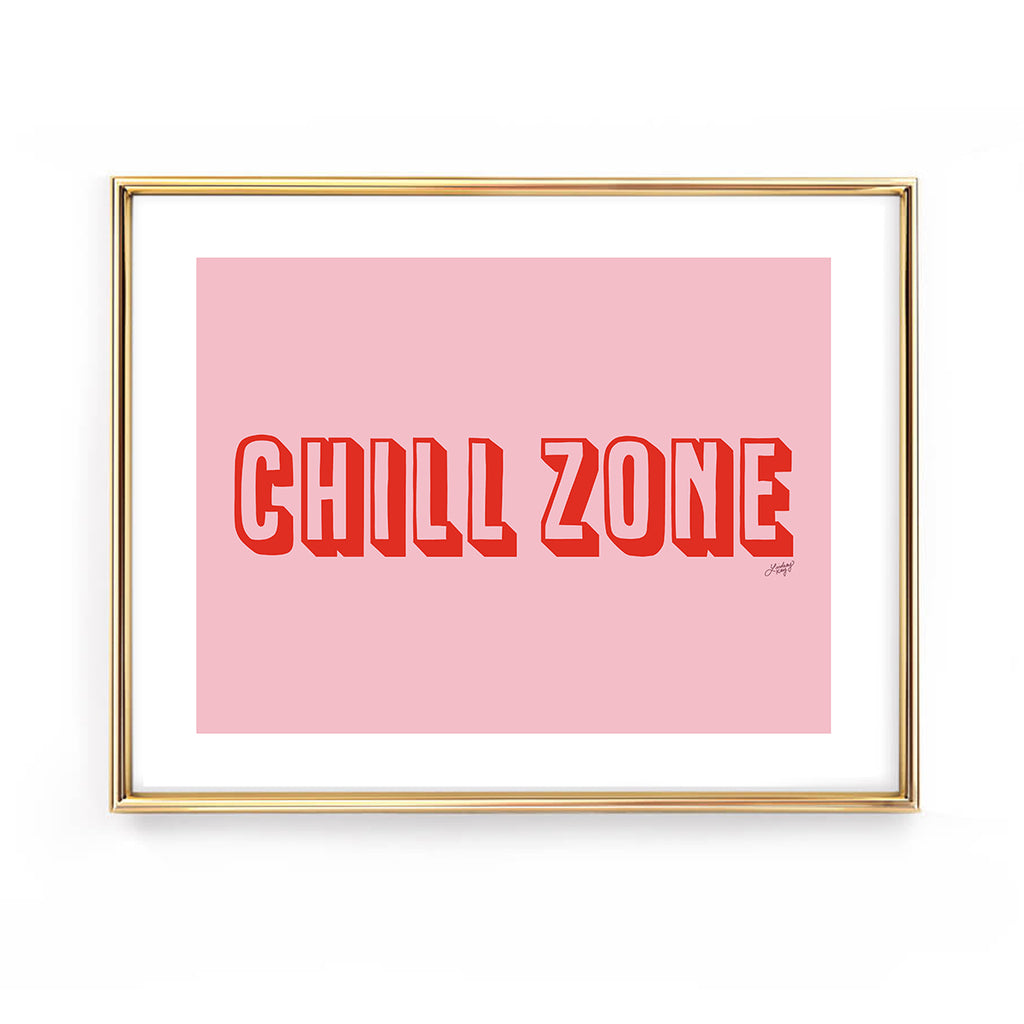 chill zone hand drawn lettering funny art print wall decor