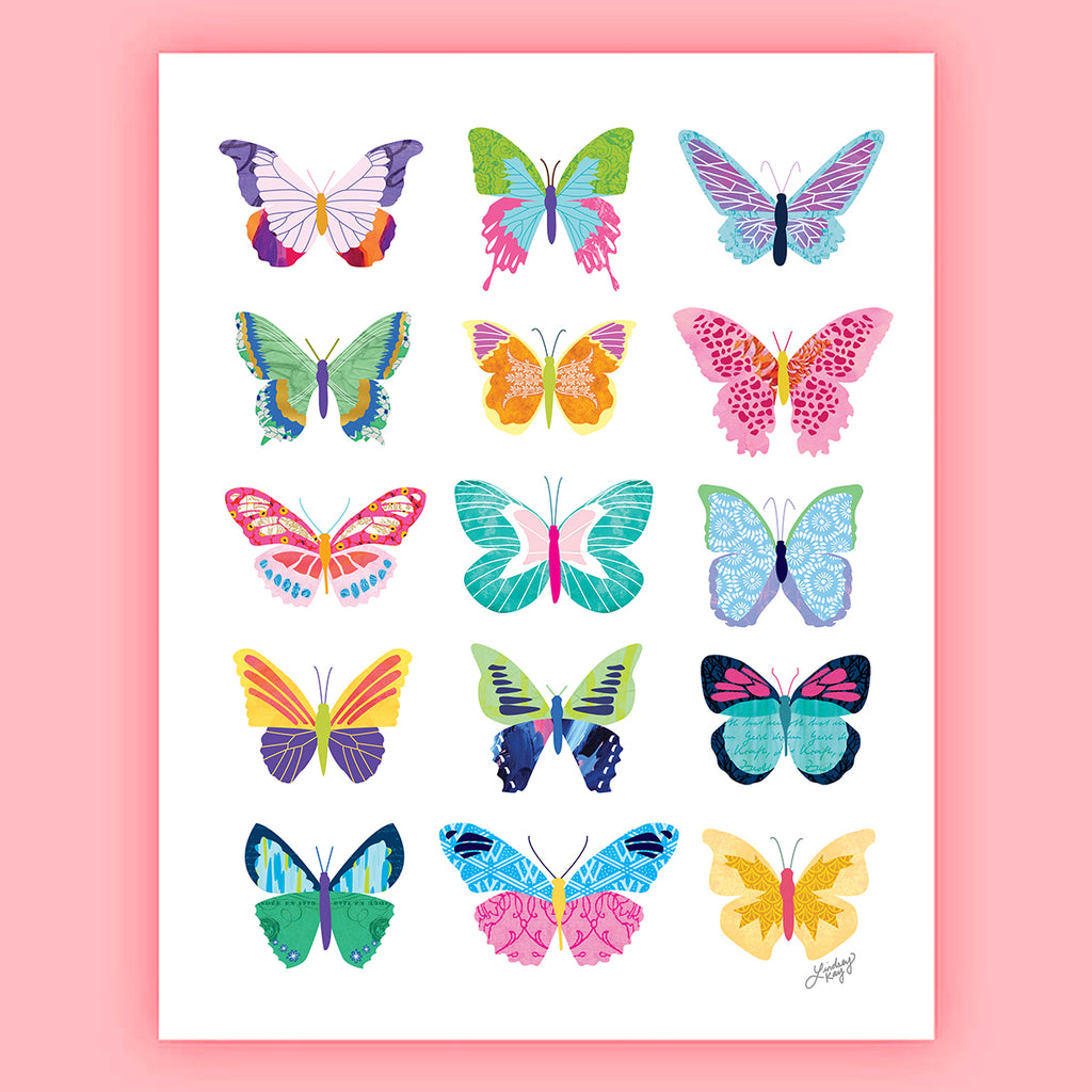 Colorful Butterflies Collage - Art Print