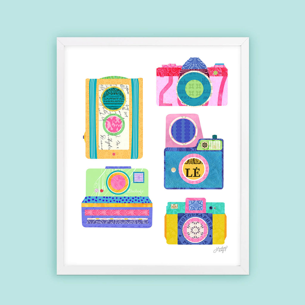 colorful vintage cameras collage illustration art print
