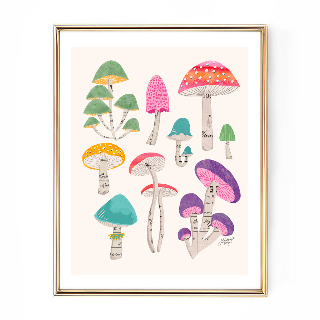 colorful mushrooms collage illustration art print nature wall decor lindsey kay collective