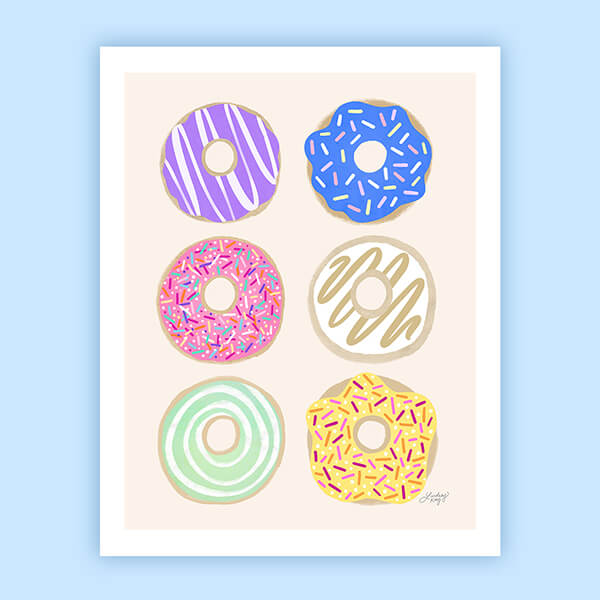 Pastel Donuts Illustration - Art Print
