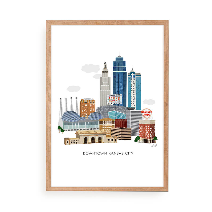 downtown kansas city missouri illustration art print for your home decor