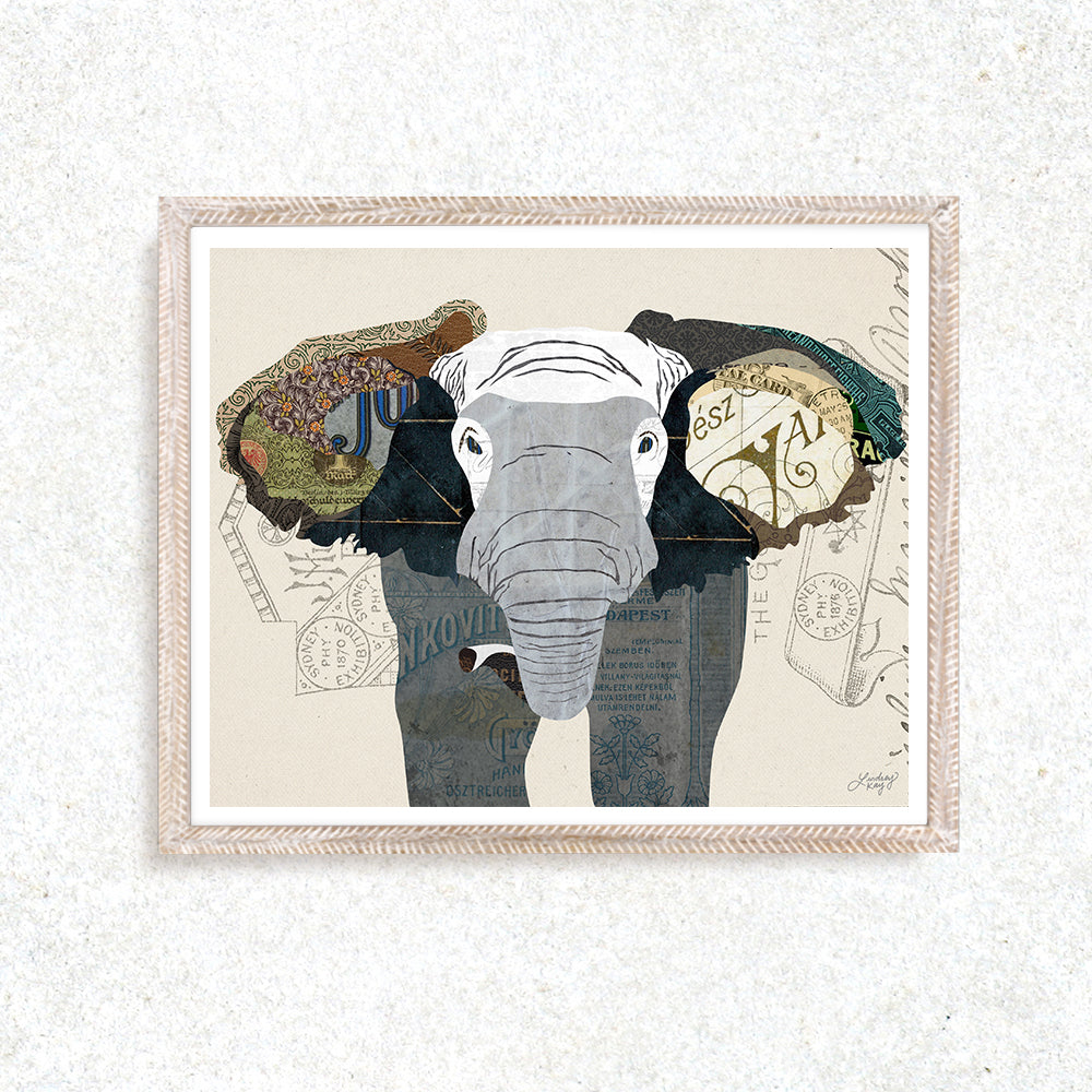 Elephant Collage - Art Print