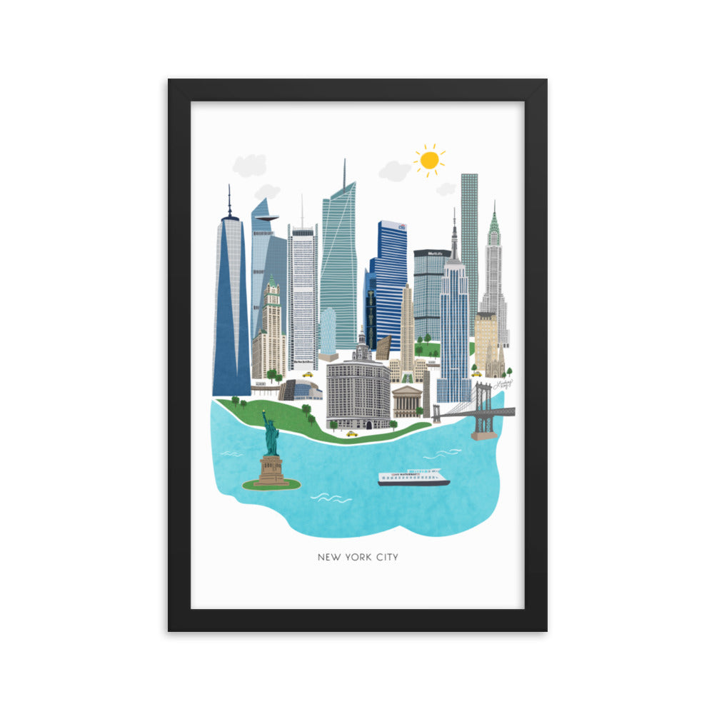 New York City Illustration - Framed Matte Art Print
