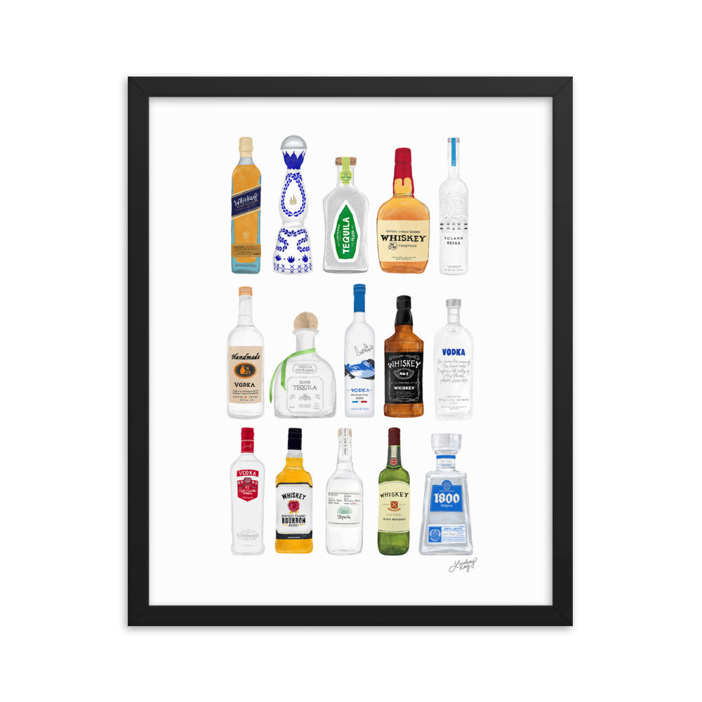Whiskey, Tequila and Vodka Bottles Illustration - Framed Matte Print