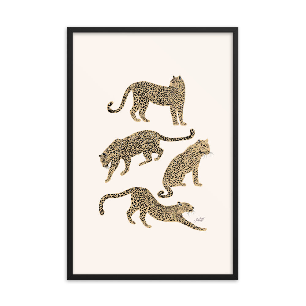 Leopards Illustration (Tan Palette) - Framed Matte Print