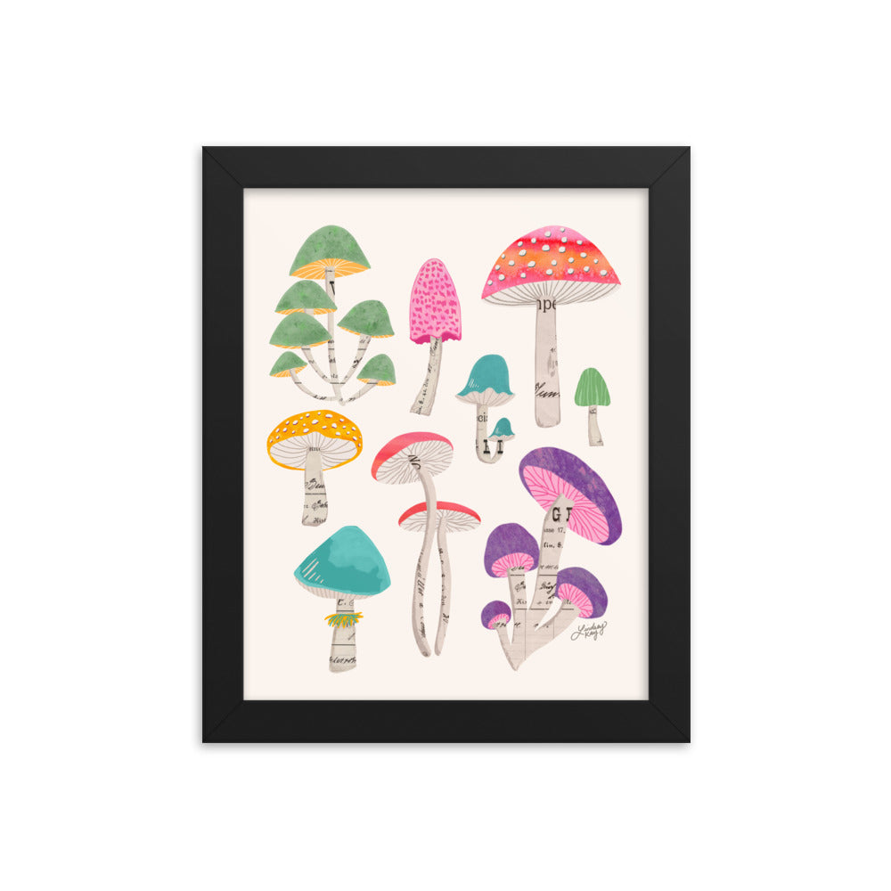 Color Mushrooms Collage Illustration - Framed Matte Print