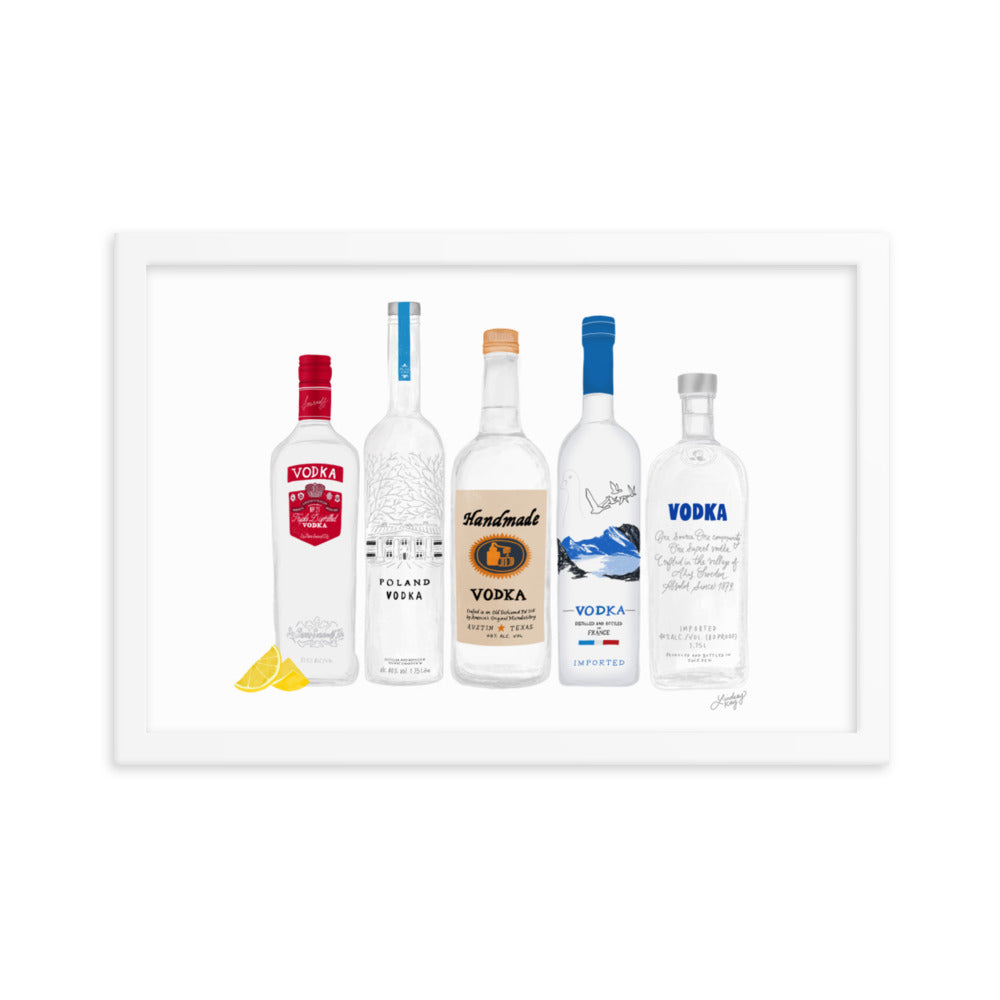 Vodka Bottles Illustration - Framed Matte Print