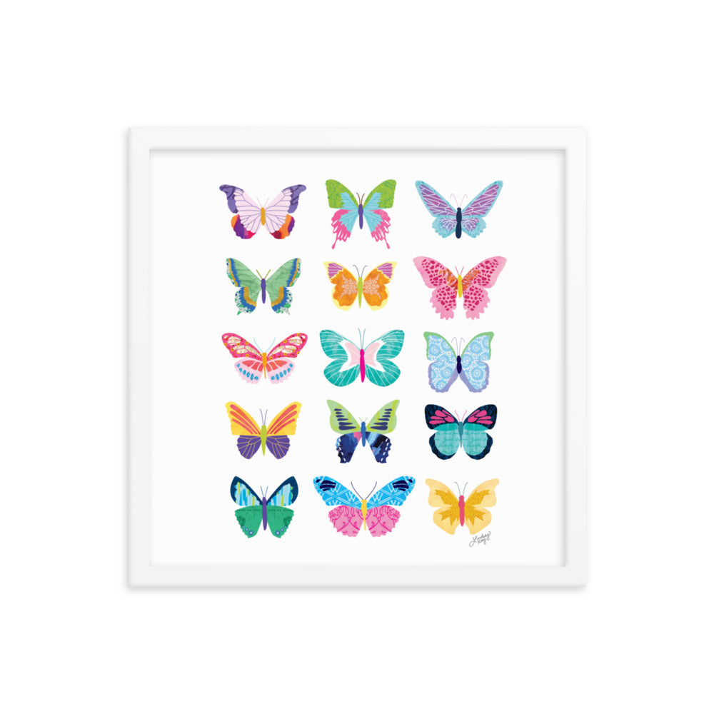 Colorful Butterflies Collage - Framed Matte Print