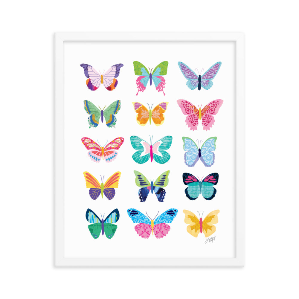 colorful butterflies collage illustration framed white black art print wall decor lindsey kay collective