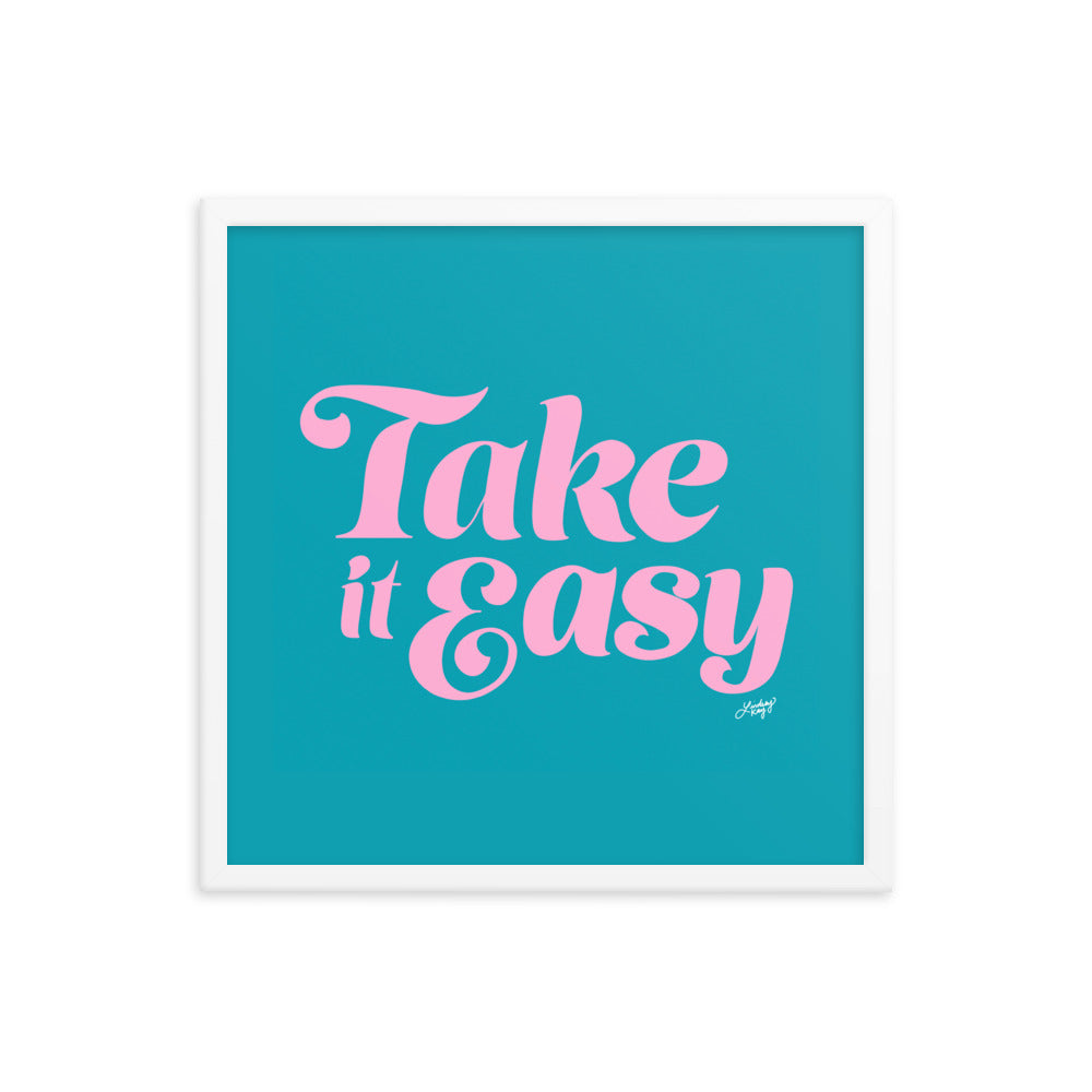 Take it Easy (Pink/Blue Palette - Framed Matte Print